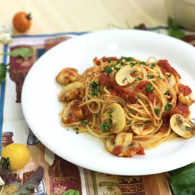 マッシュルームのトマトパスタ