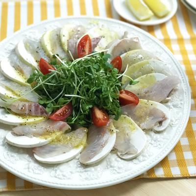 マッシュルームと鯛のカルパッチョ