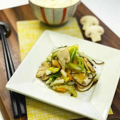 マッシュルームと白菜の塩昆布漬け