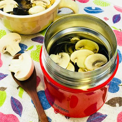 切り干し大根とマッシュルームの塩昆布スープ