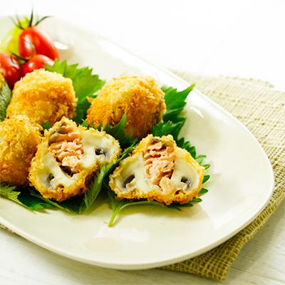 マッシュルームと鮭のフライ