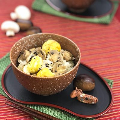 栗とマッシュルームの炊き込みご飯